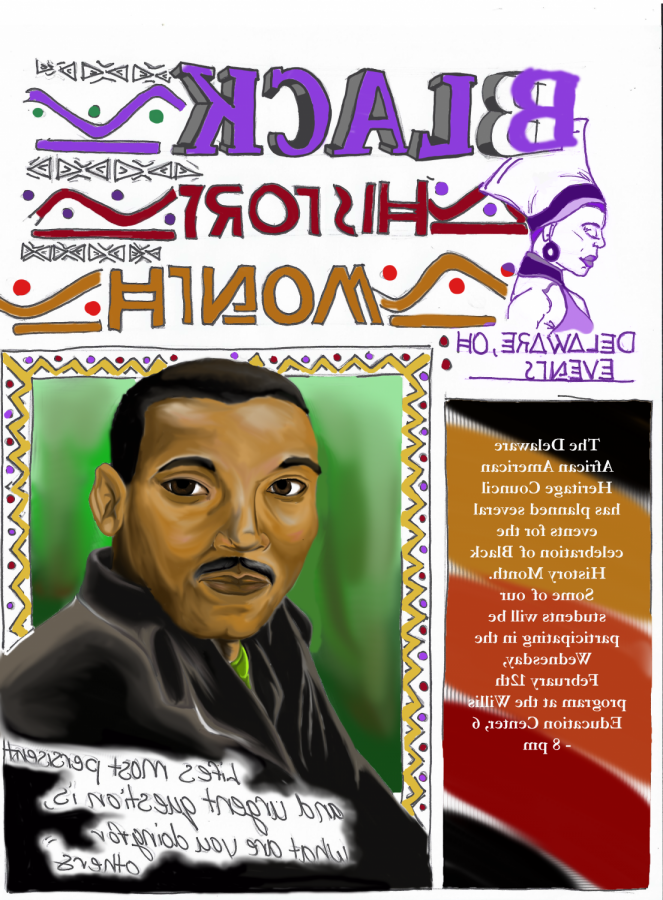 Art of Martin Luther King Jr. and upcoming events celebrating black history month on Feb 12.